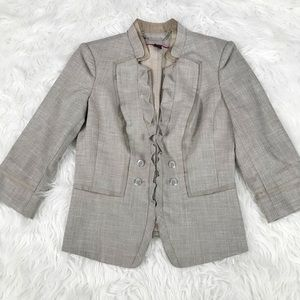 WHBM Tan Silver Ruffle Trim Career Blazer